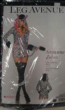 "NEW Sexy Women's Halloween Animal Costume ""Sexy Savanna Zebra"" Small"