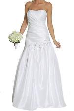 Brautkleid lang Hochzeitskleid Standesamtkleid Abendkleid geschnürt weiß Gr.42