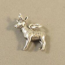 .925 Sterling Silver 3-D ANTELOPE CHARM NEW Pendant Pronghorn Deer 925 AN73