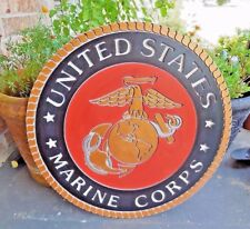 """20"""" MARINE CORPS UNITED STATES MILITARY WALL PLAQUE SIGN WOOD ART WESTERN DECOR"""