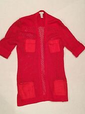 CHICOS 1 Red Loose Knit Open Front Summer Sweater Women Chico's 1 Women 8 / 10