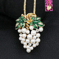 Betsey Johnson Crystal Green Leaf Pearl Grapes Pendant Chain Women's Necklace