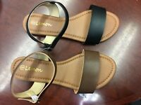 new ladies & youth girls flat leather strap sandals (961 )