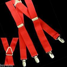 Hosenträger Gürtel Hosen Träger Weiß Mode X-Form 4 Clips Elastisch Rot