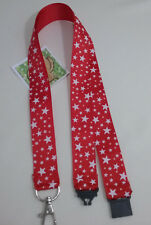 Red with White Stars ribbon lanyard safety clip ID badge holder Christmas gift