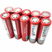 10X 18650 Batteries 6800mAh 3.7V Li-ion Rechargeable Flat Top Battery for Torch
