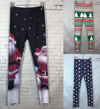 a9988d26748a2 Christmas Leggings Womens S / M L / XL Santa Fair Isle Reindeer Prints NWOT  New