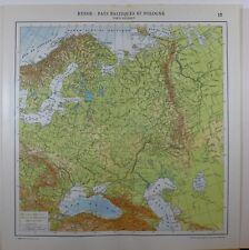 1929 original map ~ Russia fisico TERRA TERRENO Crimea Lituania Finlandia