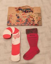 ADVERTISING BANK COIN HOLDER VTG DIE CUT CHRISTMAS CARD CANDYCANE STOCKING SANTA