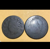 Lot694 2 Very Old Large Cents Classic Head 1808-1814 Possibly & 1830