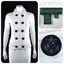 RALPH LAUREN 100% cotton white nautical sweater navy anchor buttons - XS