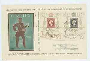 Luxemburg 1952 Briefmarkenausstellung Centilux auf Brief Mi.Nr. 488/89 Mersch
