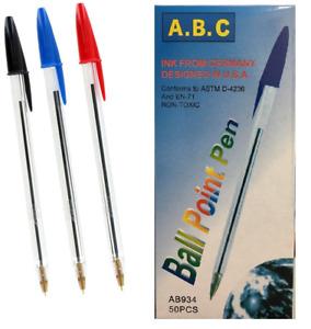 Medium Ball Pens Biros Black Blue Red Ballpoint Pen