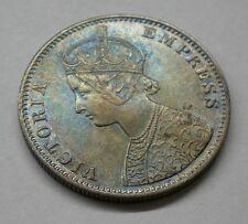India British 1 Rupee 1901-C incuse C/I HMQ Victoria Silver Coin KM#492 EXT RARE