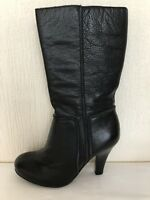 Ladies Buffalo Long Black Leather High Heeled Boots -Size 6- Excellent Condition