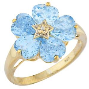 14Kt Gold Blue Topaz & Diamond Heart Flower Design Ring