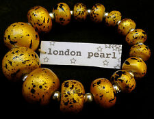 GOLD wooden wood bracelet decorated with Japanese lacquer bangle london pearl