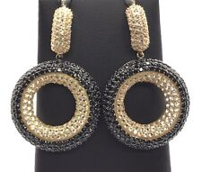 Sterling Silver 925 Round - Circle CZ Black Onyx Cluster Chunky Dangle Earrings