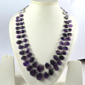 Natural Certified Purple Amethyst 2 Strands Necklace Leaf Carved Gemstone