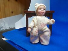 SWEET LITTLE BABY DOLL IN BEIGE ROMPER SUITE FOR A DOLLS HOUSE
