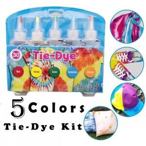UK Tie Kit Arts Design Fabric Tye Dye Art Craft One Step Fashion Set 5 Colors
