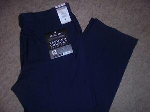 NWT HAGGAR PREMIUM COMFORT SHIRT GRIPPER BLUE DRESS PANTS SIZE 42 X 30