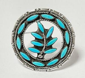 VINTAGE NATIVE AMERICAN ZUNI INDIAN SILVER & TURQUOISE BROOCH PENDANT SIGNED FE