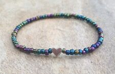 Rainbow Multicolour Glass Beaded Surfer Style Bracelet Silver Heart Stretchy