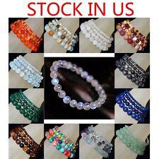 Handmade Natural Gemstone Round Beads Stretch Bracelet 4mm 6mm 8mm 10mm 7.5
