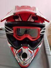 Junior Syko Motorcycle Helmet With Goggles & Bag Size M
