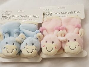 Baby Seat Belt Harness Pads Covers Giraffe Teddy Soft Fleece Blue or Pink