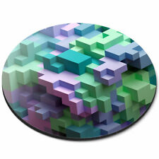 Round Mouse Mat - Awesome 3D Blocks Cool Gamer Office Gift #3855