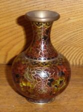 """Antique / Old Chinese Cloisonne Small Bud Vase - 4 1/8"""""""