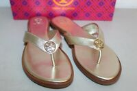 NIB TORY BURCH  BENTON LEATHER FLAT THONG LOGO SANDALS FLIP FLOPS GOLD 7