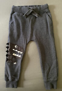 Toddler Boy Size 3-4 Years Next UK Charcoal Gray Dinosaur Pull On Jogger Pants
