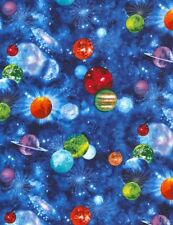 Space Fabric - Galaxy Star Planet C5736 Cobalt Blue - Timeless Treasures YARD