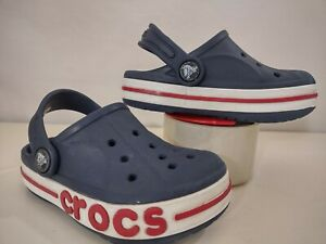 Crocs Kids Toddlers Blue Crocband Clogs Size C8 Slip On White And Red Stripe