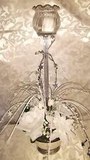 WEDDING TABLE CENTERPIECE-CANDLE-WHITE SILK FLOWERS-SILVER GRASS-SILVER BOWL