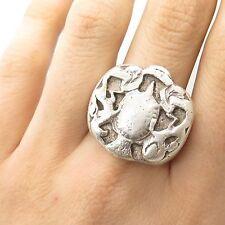 Vtg 925 Sterling Silver Horse Modernist  Design Handmade Large Ring Size 10 3/4