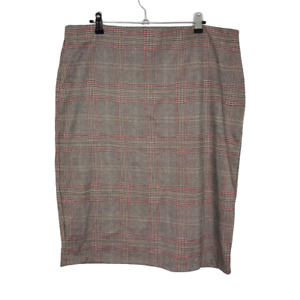 George Asda Size 18 Red & Brown Check Elasticated Waist Knee Length Pencil Skirt