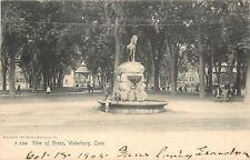 Waterbury CT~Gazebo on Green~Kids in Horse Watering Fountain 1905 Rotograph