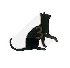 Cat With Paw Door House Number Sign Plaques in Black
