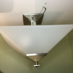 PREOWNED SQUARE CEILING LIGHT WHITE FROSTED GLOBE SILVER HARDWARE GREAT CON 12+""