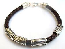925 sterling silver tube leather bangle bracelet men women solid chunky braided