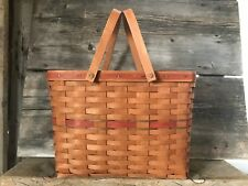 1989 Longaberger Basket Swing Handles Hostess Christmas Magazine Red Green Weave