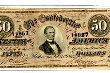 "$50 ""Confederate"" (Blueback) ""1800'S"" $50 Rare ""Blueback"" Super Crispy!"