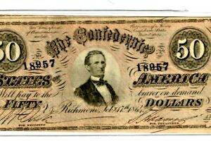 "$50 ""CONFEDERATE""  (BLUEBACK) ""1800'S"" $50 RARE ""BLUEBACK""  SUPER CRISPY!!!!!!!"