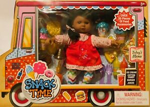 """Snack Time 13"""" Doll Play Food Ice Cream Pizza Cotton Candy Burger Juices"""