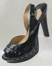 Gianni Bini Platform Heels Slingback Peep Toe Womens Black Patent Shoes Sz 9.5