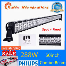 50Inch 288W Led Work Light Bar Spot Flood Offroad 4WD SUV ATV Driving VS 52/54''